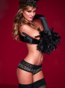 Leopard Print Black Boyleg with Lace Top Trim including Black feathered trim silk gloves and black stockings.