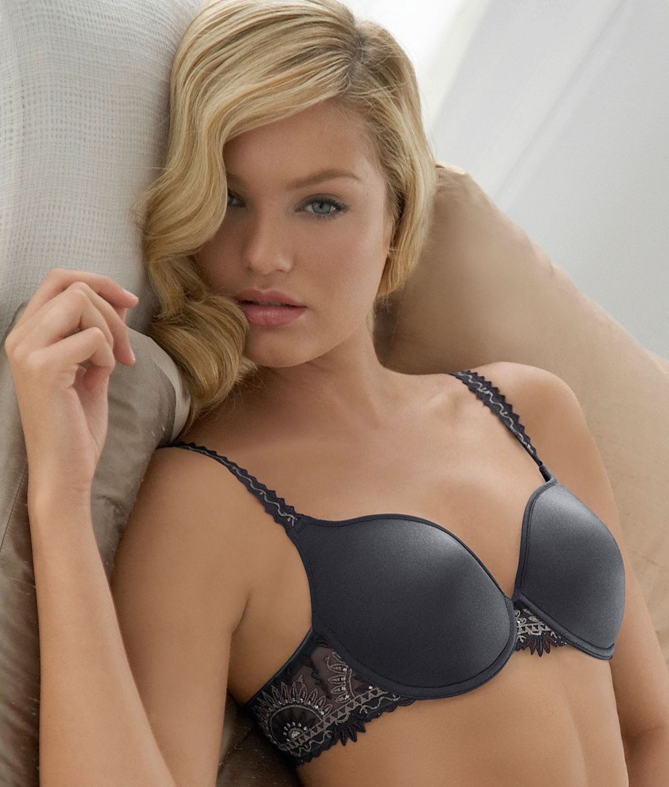 Black Bra with a Grey Lace Pattern on the strap.