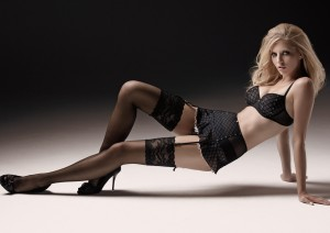 Black Mesh Bra and Thong with matching Skirt Garter Belt in a Mesh Pattern and Diamante Studs, Black Stockings.