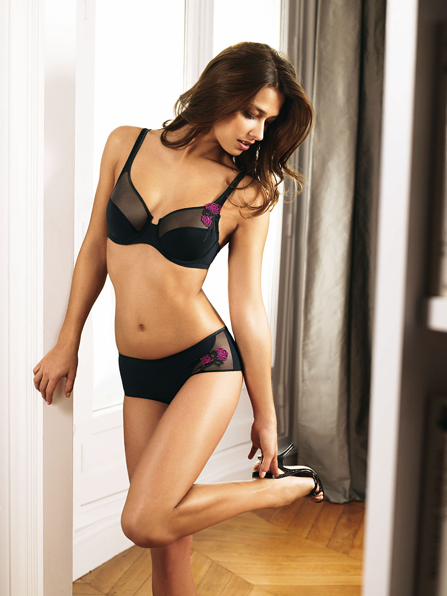 Black Satin Lace Bra Boyleg Pink Flower