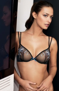 Black See-through Bra with a Blue White Flower pattern.
