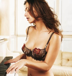 Brown Lace Bra with Embroidered Red Flowers and White Music Symbols.