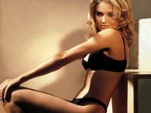 Cameron Diaz in a Black Velvet Bra and Panties