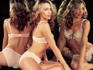 Kylie Minogue White Bra and Panties with a Black String Lace.