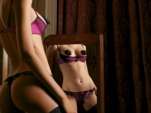 Purple Black Low Cut Bra and G String with Black Nipple Pasties
