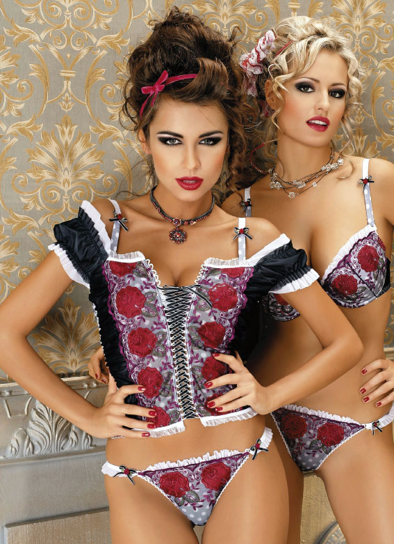 Black Bodice with White Trim and Red Rose Flower Pattern, matching Bra and G-String.