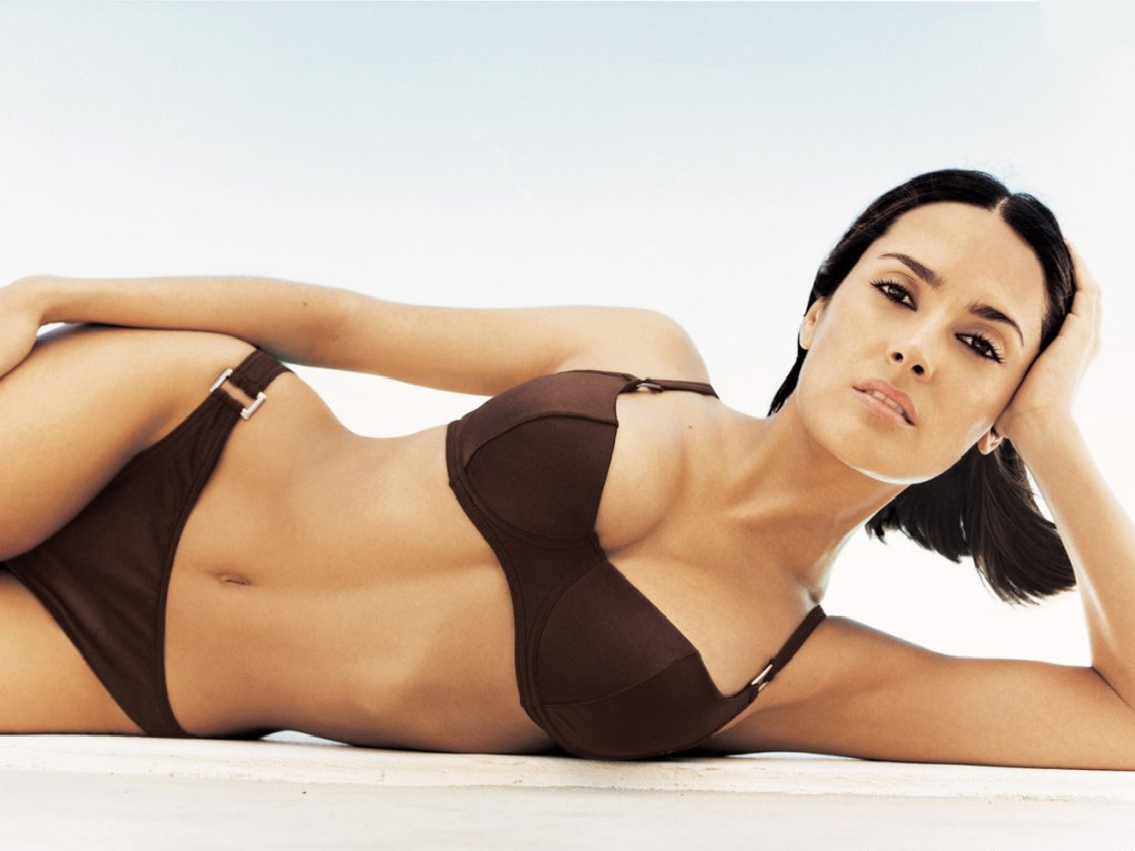 Salma Hayek Brown Bikini