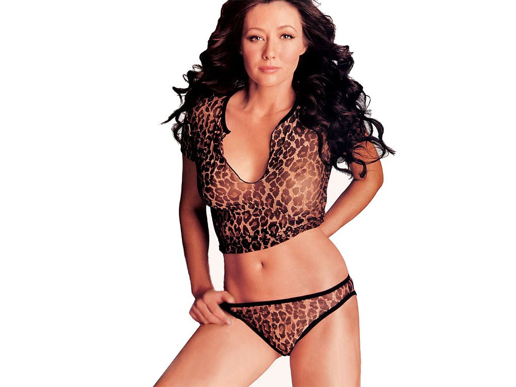 Shannen Doherty Leopard Print Bra and Panty