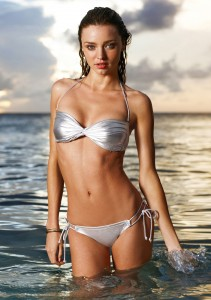 Silver Bikini with Twin String Tie Up Waistband.