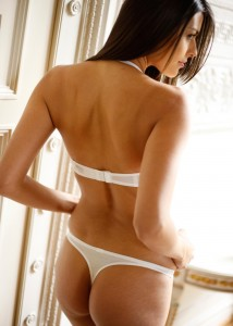 White Thong with matching Halter Neck Bra