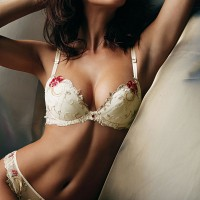 White Bra and G-String with Red Flower