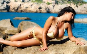 Yellow Bikini with Tie Up Laces