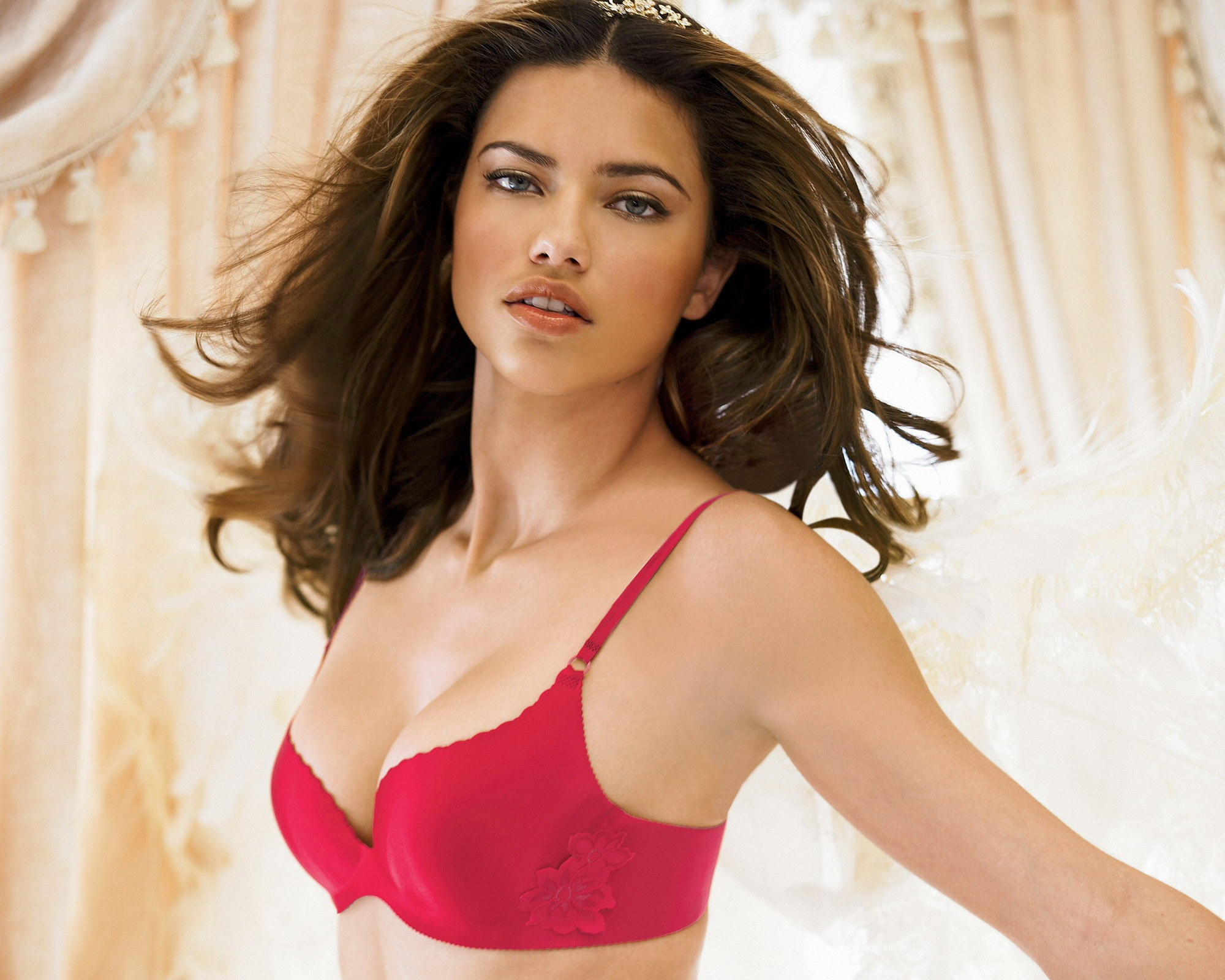Red Bra Flower Motif