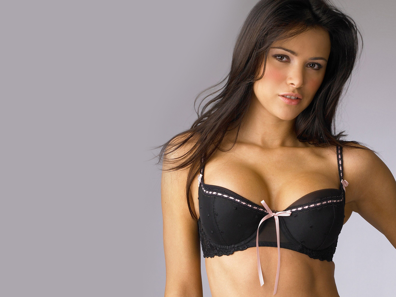 Black Bra With Pink Bows