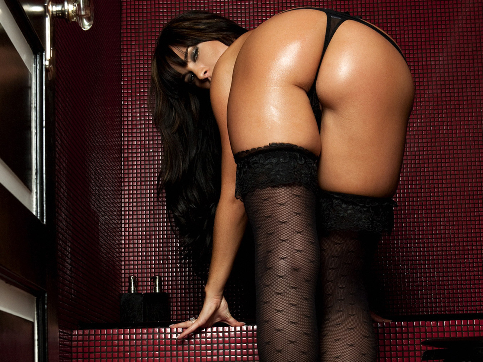 Black Thong With Matching Black Stockings