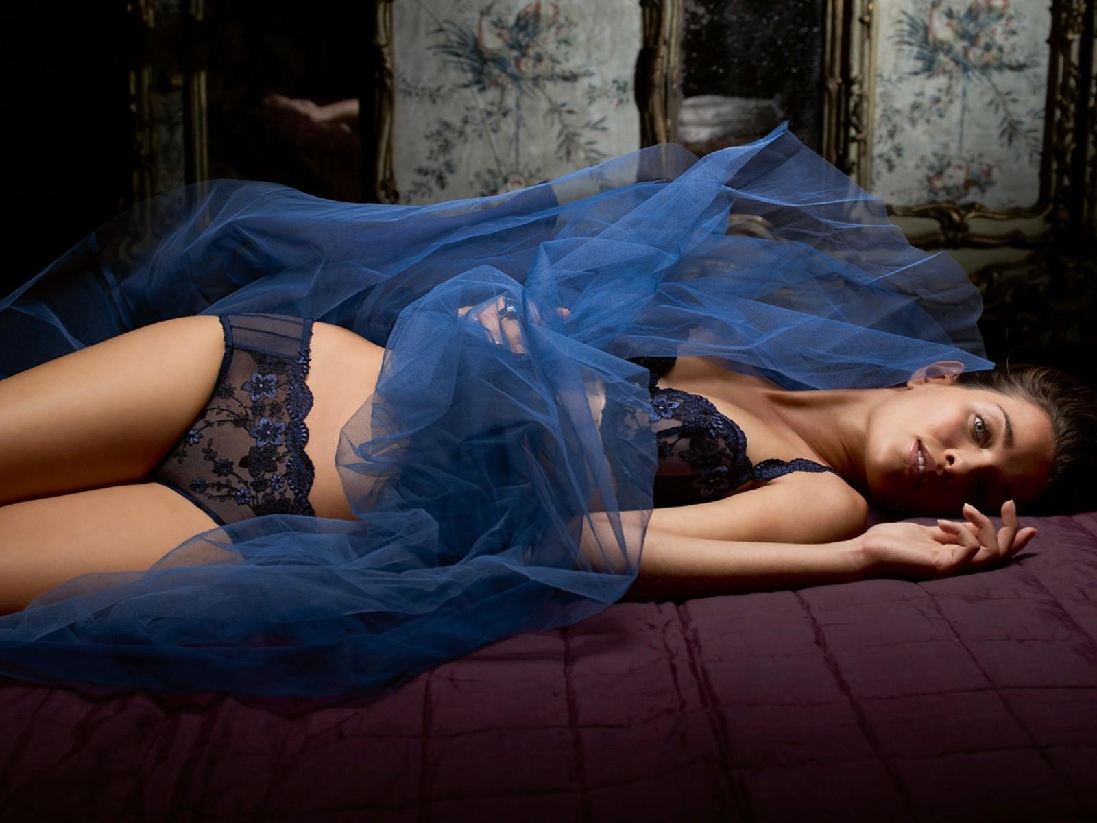Dark Blue Fancy Lace Bra And Knickers With Blue Netting