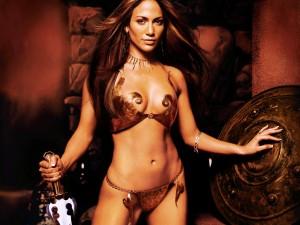 Jennifer Lopez in a Copper Metal Bikini