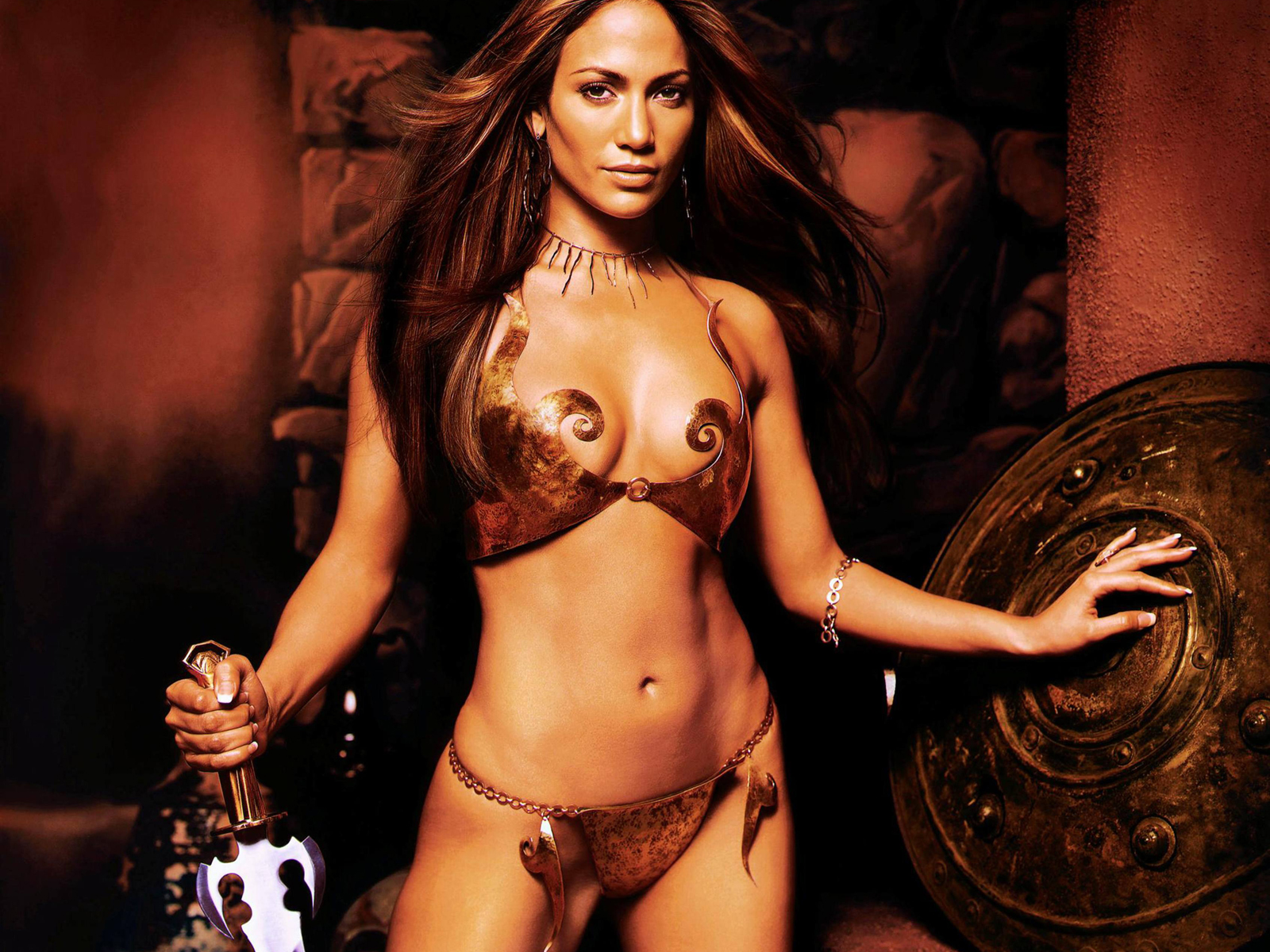 Jennifer Lopez Copper Metal Bikini
