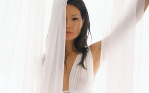 Lucy Liu Sheer White Bikini Top