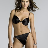 Olga Kurylenko Black Bra and Panties with Heart Shaped Diamente 1