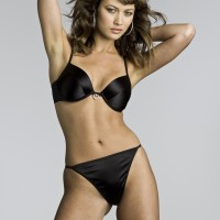Olga Kurylenko Black Bra and Panties with Heart Shaped Diamente 2
