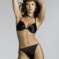 Olga Kurylenko Black Bra and Panties with Heart Shaped Diamente 3
