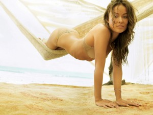 Olivia Wilde see through Cream Bra and matching Panties in a Hammock