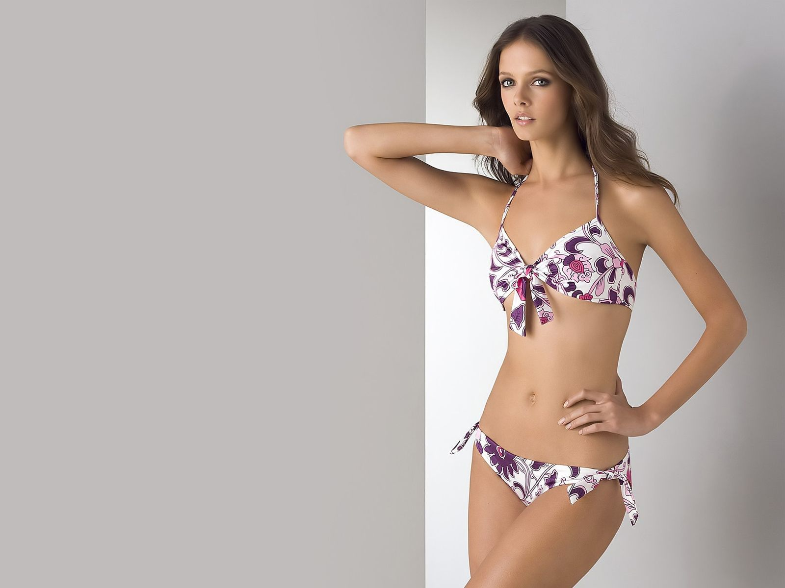 White Purple And Orange Bikini Swimware With Bows