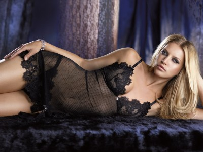 black camisol with fancy lace with fancy black thong