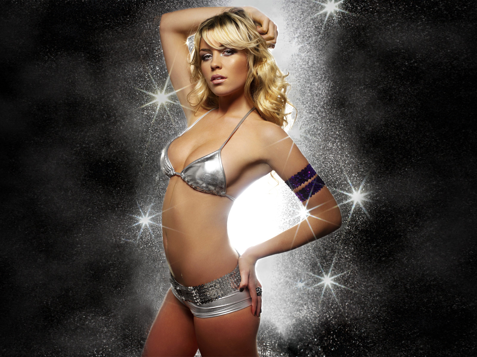 Silver Bikini With Silver Belt And Buckle Blue Arm Band Sparkling Lights