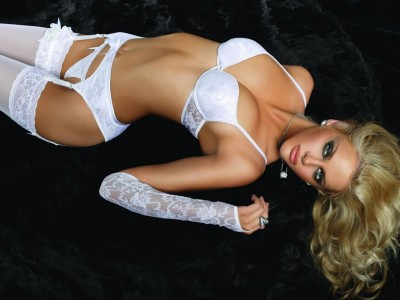 White Bra with matching G-String, Garter Belt, Suspenders, Stockings and Gloves