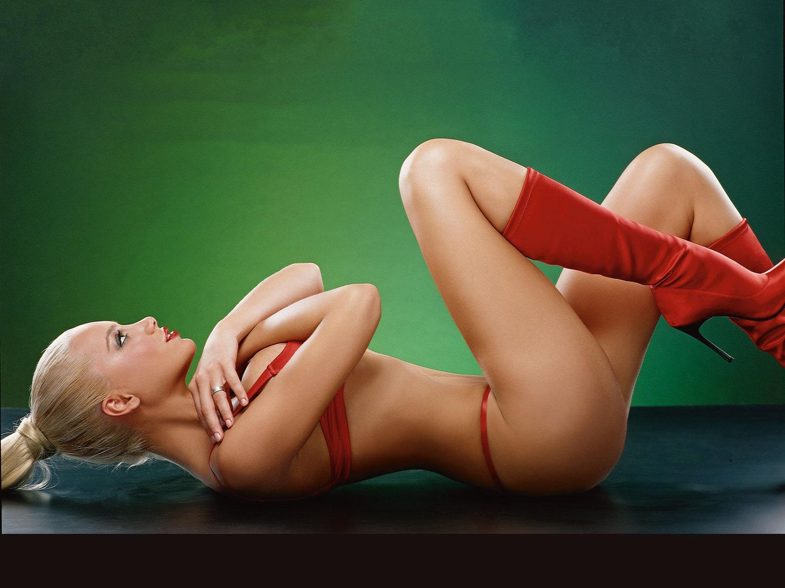 Red, Bikini And Red Boots
