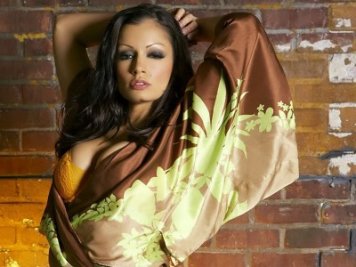 Yellow,bra with satin brown beige shawl