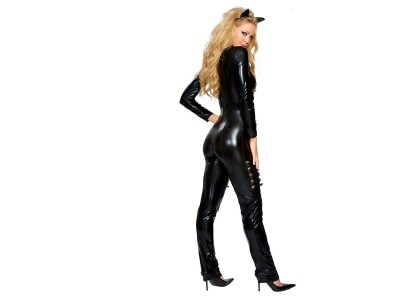 Black,wet look cat suit