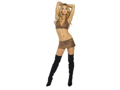 Brown,bikini top and bottom black boots