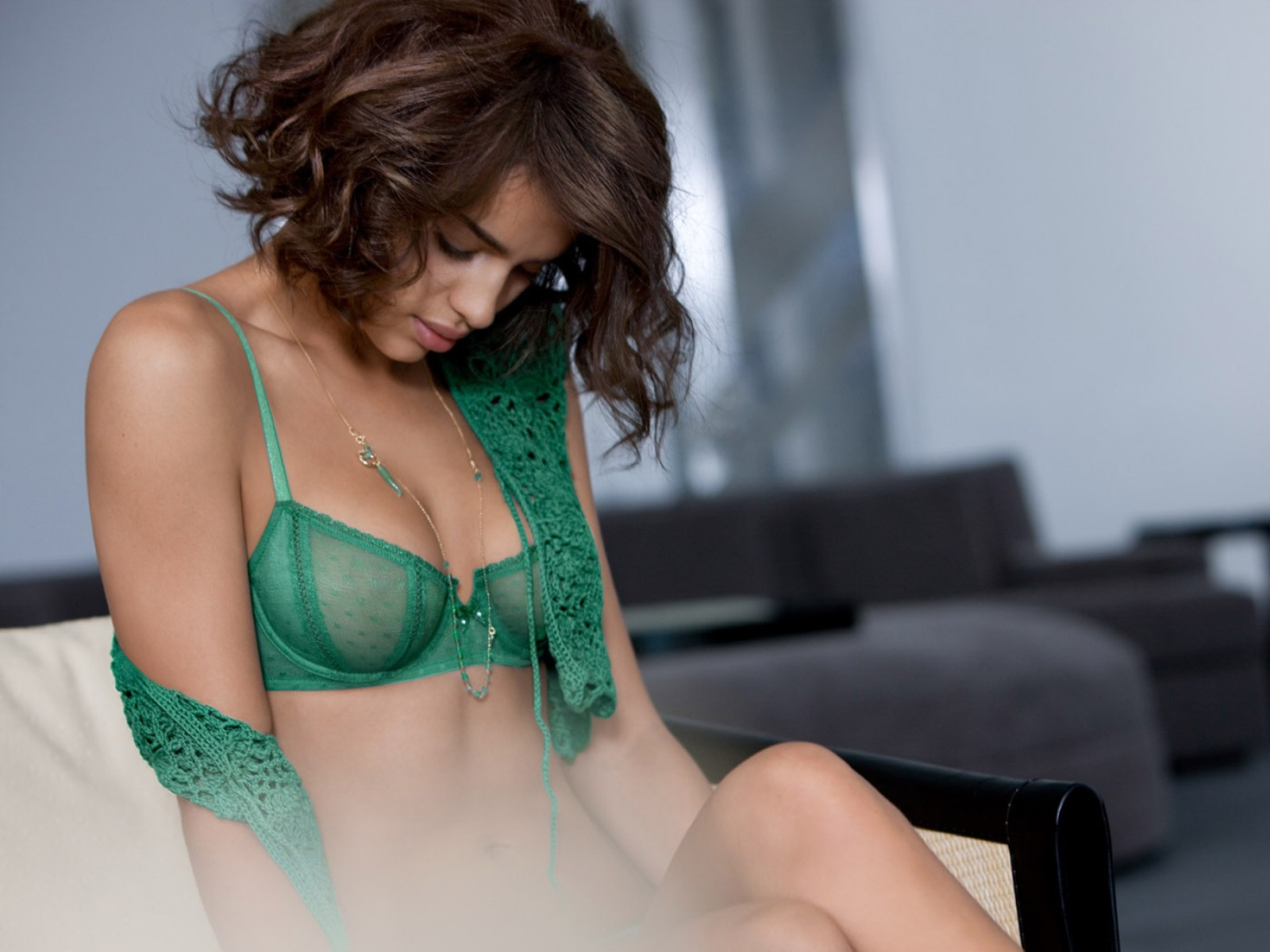 Green,bra With Crociered Top