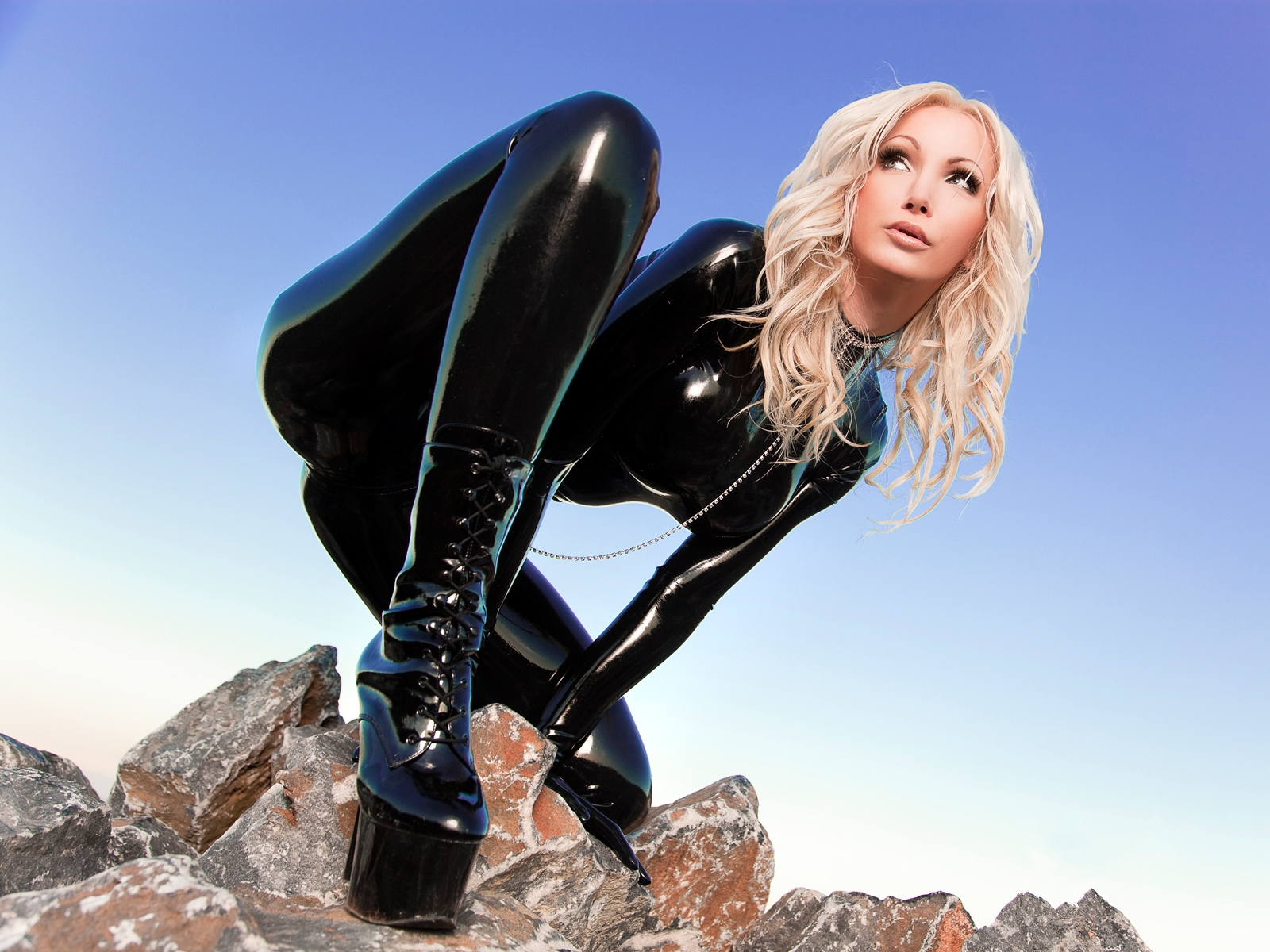 Black,shiny Body Suit Complete With Boots