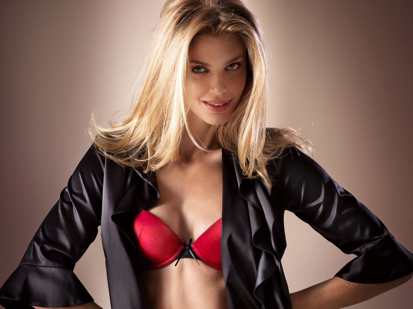 Red,bra Black Satin Jacket