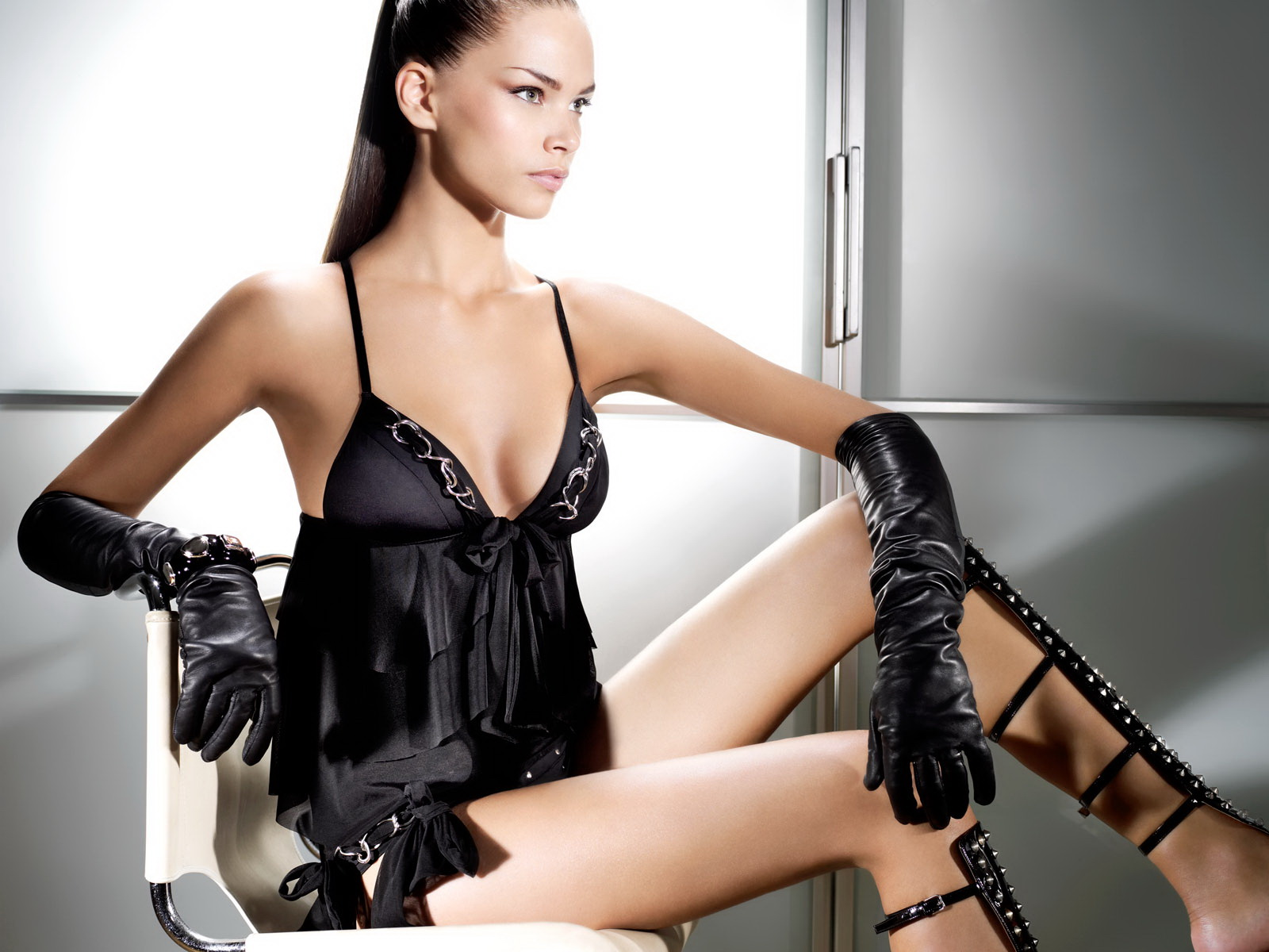Black,satin Bathers Black Gloves