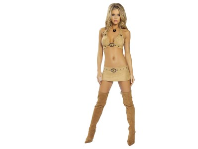 Beige,bikini top mini skirt long beige boots