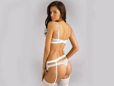 White,lace bra thong suspenders & stockings