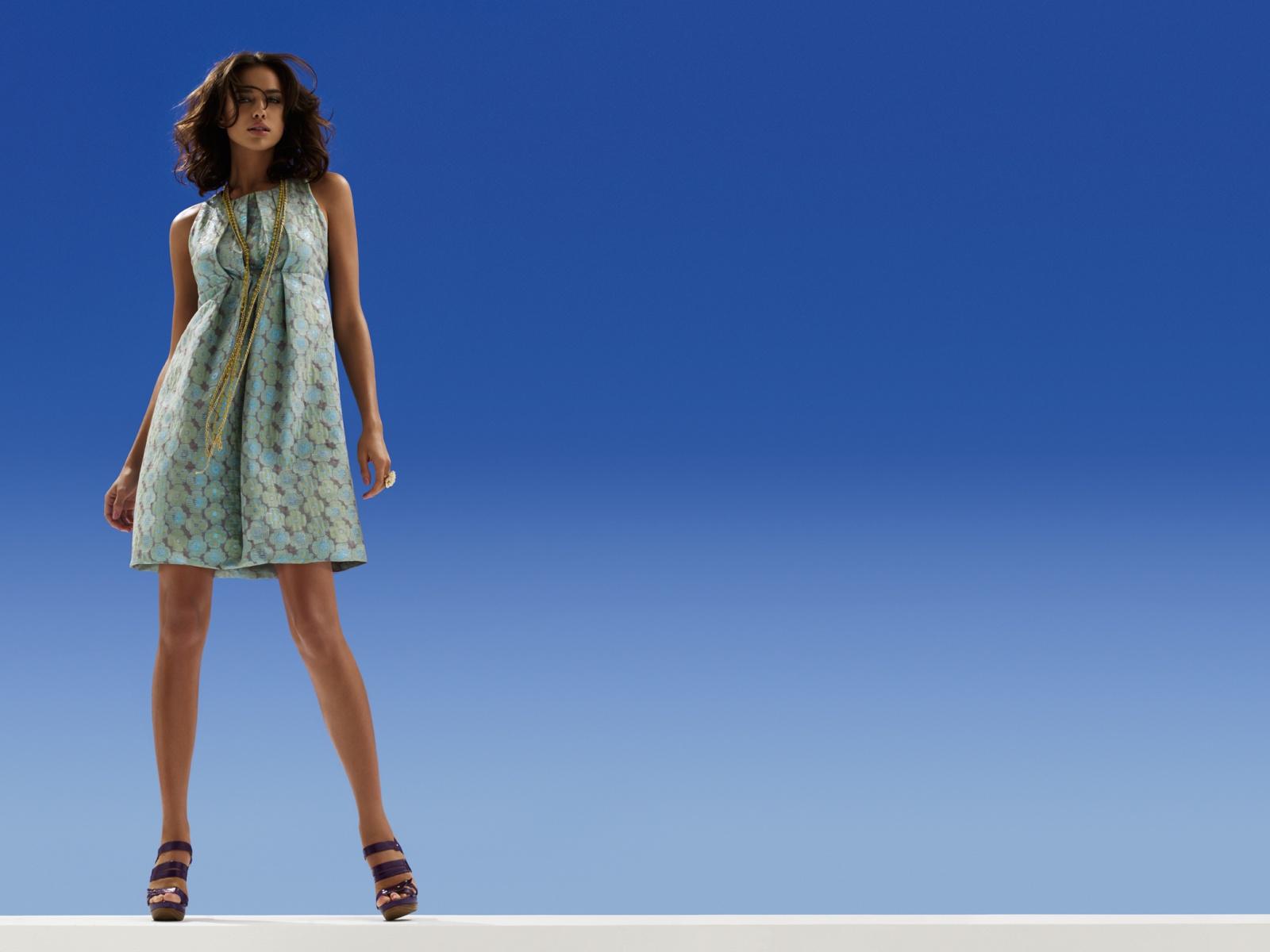 Blue,light Pattern Dress Black Sandles