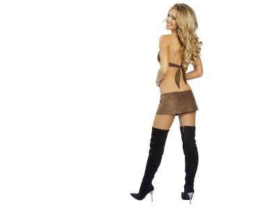 Tan,bikini top mini skirt long dark boots