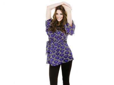 Blue,patterned dress black tights