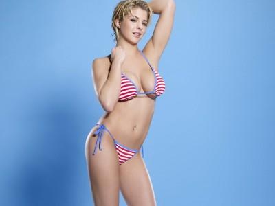 White, & red stripe blue trim bikini top g string bottoms