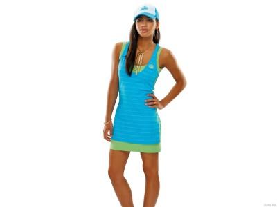 Blue,& green dress & cap