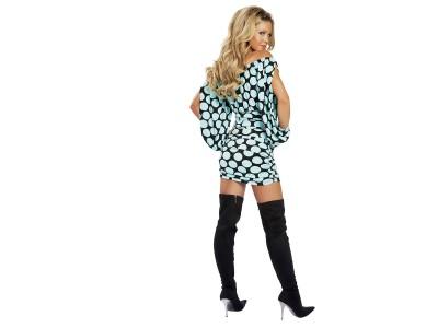 Blue,sky coloured spotty mini dress long black boots