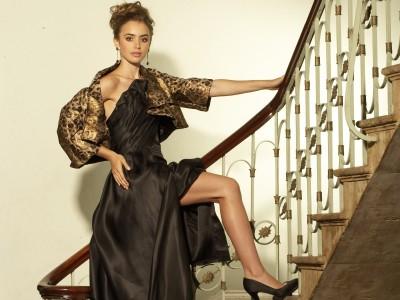 Black,satin long dress gold patterned jacket