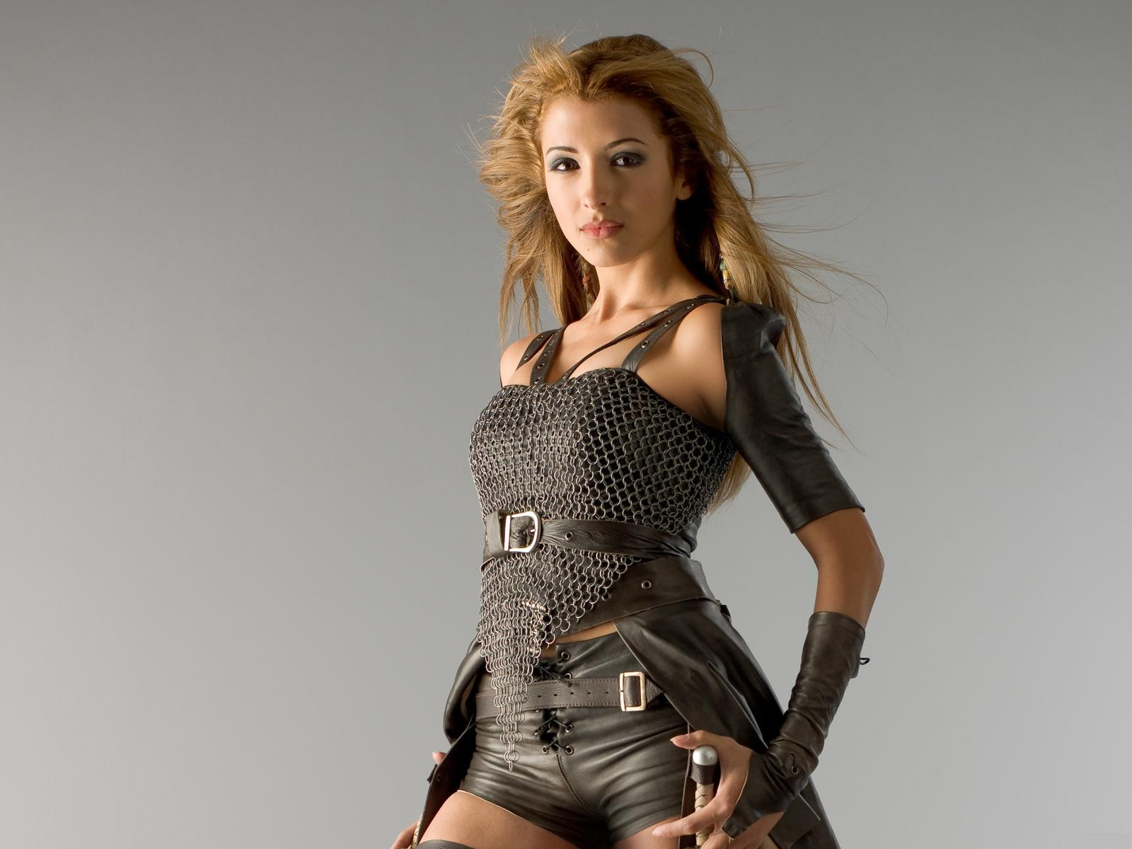 Black,chain Mail Top Black Leather Shorts & Cape