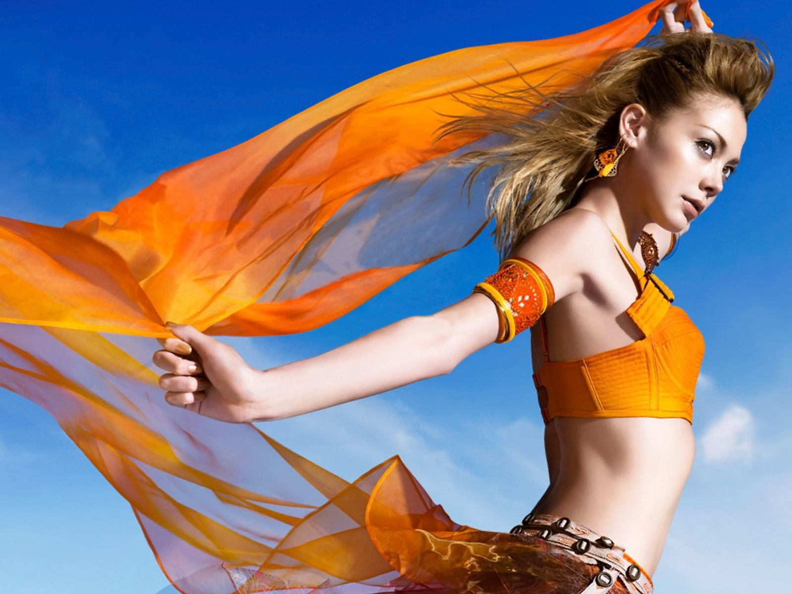 Orange,bra Top Armlet & Cape